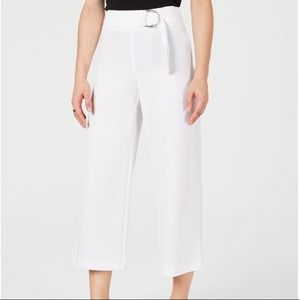 INC bright white cropped wide legs causal pants